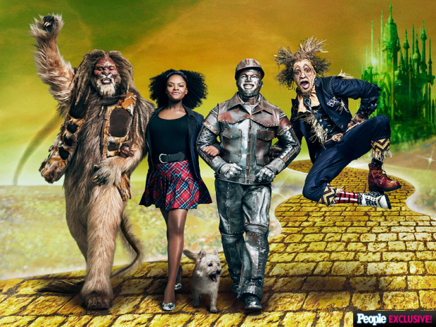 David Alan Grier as the Cowardly Lion, Shanice Williams as Dorothy, Ne-Yo as the Tin Man and Elijah Kelley as the Scarecrow in The Wiz Live.