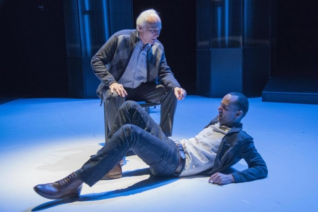 Dale Place and Nael Nacer in Caryl Churchill's A Number, directed by Clay Hopper, at Boston's New Repertory Theatre.