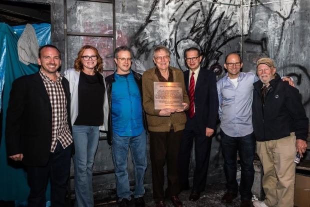 John Cullum (center) poses with Michael Rego, Jennifer Laura Thompson (Urinetown's original Hope Cladwell), Greg Kotis and Mark Hollman (Urinetown authors), Matthew Rego, and James Jennings, the Artistic Director of The American Theatre for Actors