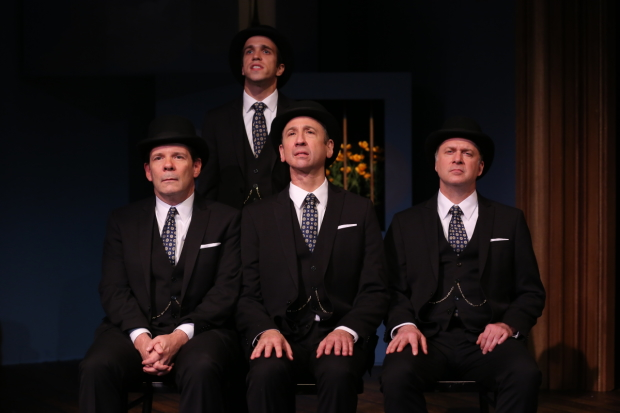 Thomas Jay Ryan, Rory Kulz (standing), Jay Russell, and Daniel Jenkins star in the Keen Company's Travels With My Aunt, directed by Jonathan Silverstein, at the Clurman Theatre.
