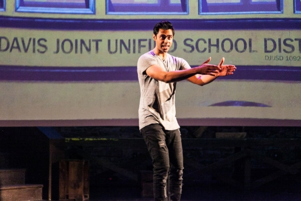 Hasan Minhaj stars in his solo show Homecoming King, directed by Greg Walloch, at the Cherry Lane Theatre.