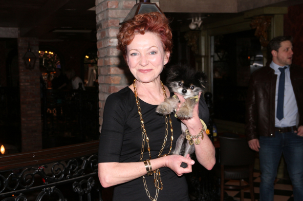 Julie White (who plays Kate in Sylvia) poses with her little dog, Lulu.