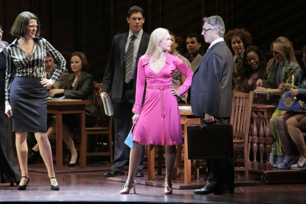 Kate Shindle, Richard H. Blake, Laura Bell Bundy, and Michael Rupert in a scene from Legally Blonde.