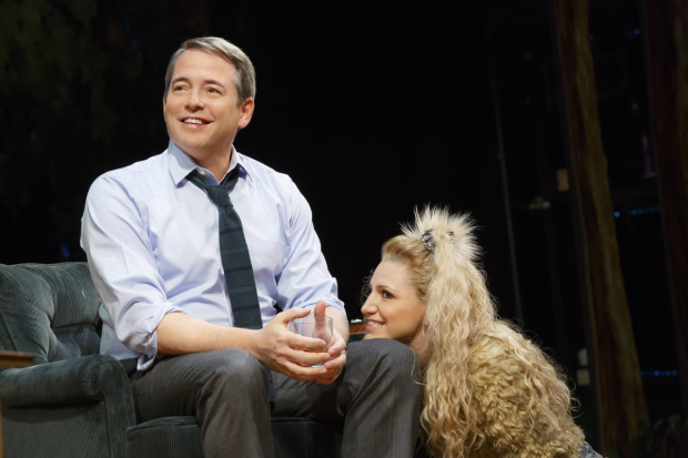 Matthew Broderick as Greg and Annaleigh Ashford as Sylvia in Daniel Sullivan's Broadway mounting of A.R. Gurney's Sylvia at the Cort Theatre.