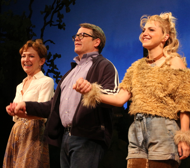 Julie White, Matthew Broderick, and Annaleigh Ashford share a bow on the opening night of A.R. Gurney's Sylvia at the Cort Theatre.