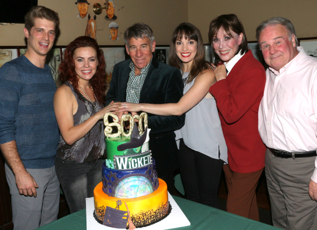 Wicked composer Stephen Schwartz (center) joins current cast members Jonah Platt (Fiyero), Rachel Tucker (Elphaba), Kara Lindsay (Glinda), Michele Lee (Madame Morrible), and Fred Applegate (the Wizard) to toast 5,000 performances.