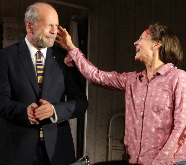 Bruce Willis and Laurie Metcalf star in the new stage adaptation of Stephen King's Misery at the Broadhurst Theatre.