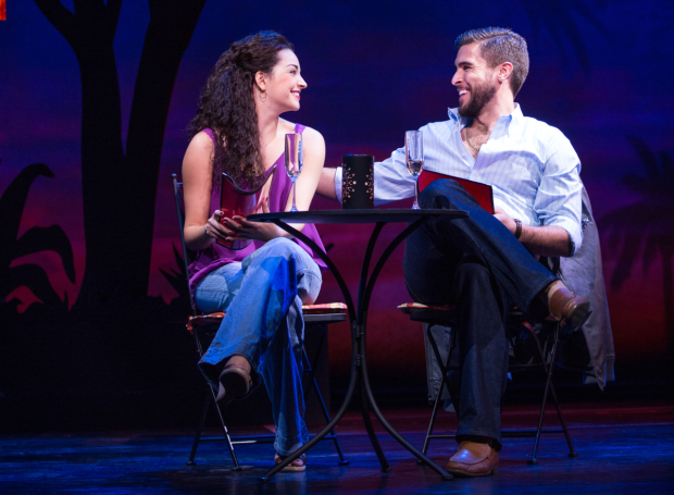 Ana Villafañe and Josh Segarra share a moment in On Your Feet!