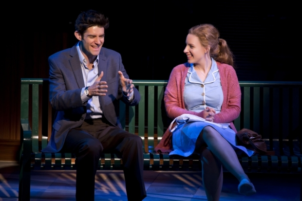 Drew Gehling as Dr. Pomatter and Jessie Mueller as Jenna in the American Repertory Theatre production of Waitress.