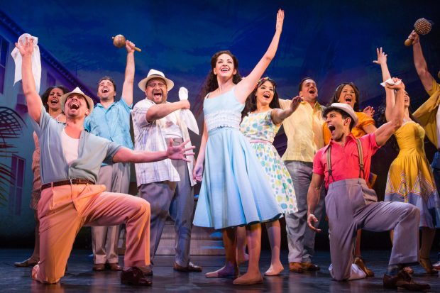 Ana Villafañe (center) leads the cast of Gloria Estefan, Emilio Estefan, and Alexander Dinelaris' On Your Feet!, directed by Jerry Mitchell, at Broadway's Marquis Theatre.