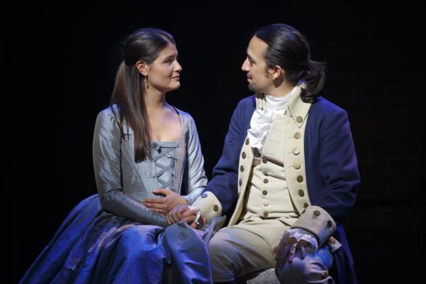 Phillipa Soo (Eliza Hamilton) and Lin-Manuel Miranda (Alexander Hamilton) in a scene from Hamilton at the Richard Rodgers Theatre.
