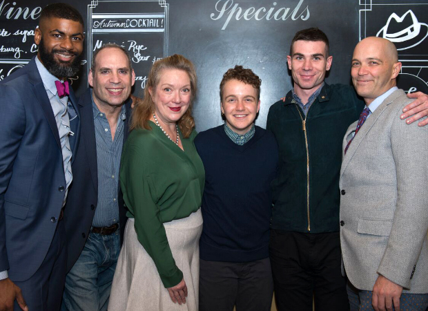 Director Niegel Smith (left) and playwright Taylor Mac (right) join Hir cast members Daniel Oreskes, Kristine Nielsen, Tom Phelan, and Cameron Scoggins for a group shot.