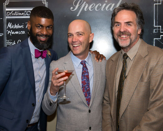 Hir author Taylor Mac (center) takes an opening-night photo with director Niegel Smith (left) and Playwrights Horizons artistic director Tim Sanford (right).