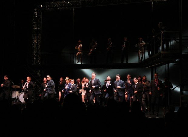 Original Jersey Boys cast members and current starts take the stage of the August Wilson Theatre for a special grand finale in honor of the show's 10th anniversary on Broadway.