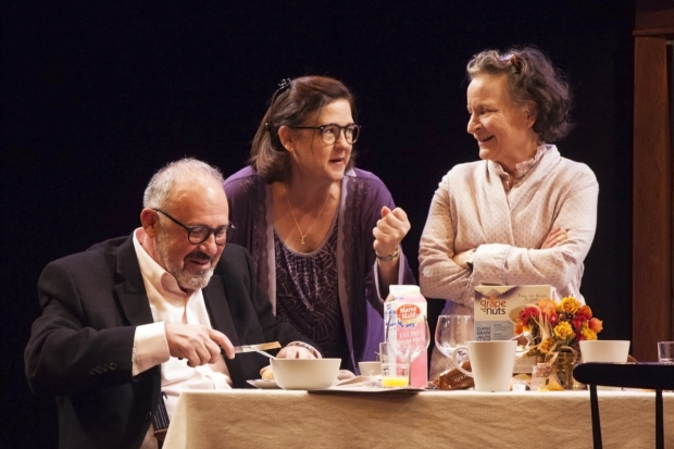 Rick Foucheux, Elizabeth Pierotti, and Sarah Marshall in Sorry from The Apple Family Cycle, directed by Serge Seiden, at Studio Theatre.