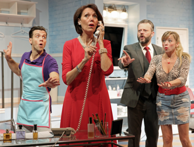 Jordan Ahnquist (Tony), Lynne Wintersteller (Mrs. Shubert), Jeremy Kushnier (Eddie), and Kate Middleton (Barbara) in the New York premiere of Shear Madness at New World Stages.