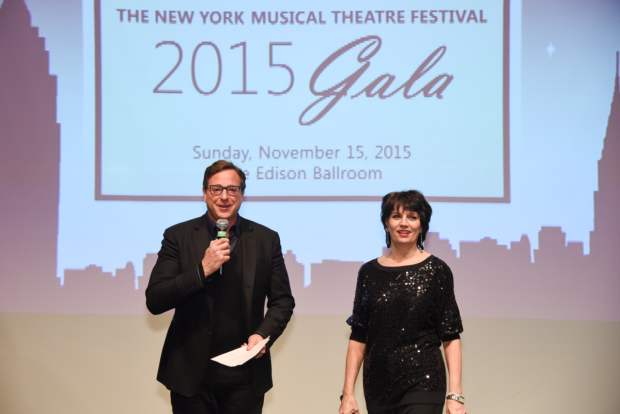 The Drowsy Chaperone veterans Bob Saget and Beth Leavel take the stage at the 2015 NYMF Gala.