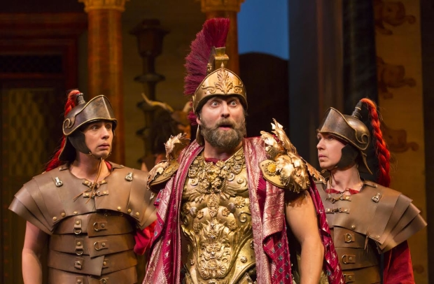Graham Rowat (center) takes on the role of Miles Gloriosus, alongside Bobby Conte Thornton (left) and David Turner (right) as Roman Soldiers.