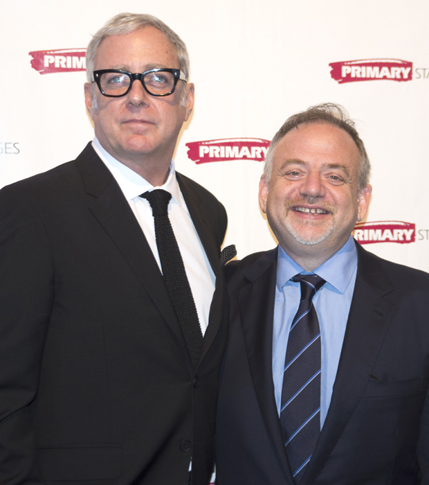 Scott Wittman and Marc Shaiman receive an award from Primary Stages at the organization's annual gala on November 16.