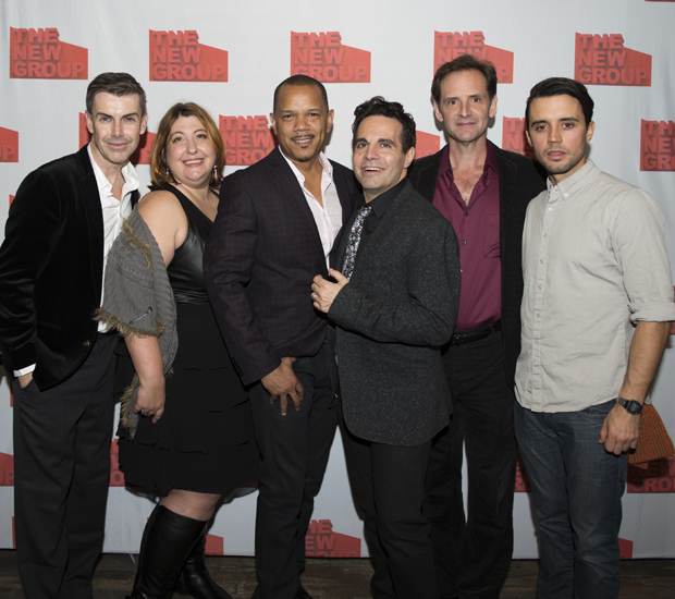 Matt McGrath, Ashlie Atkinson, Jerry Dixon, Mario Cantone, Malcom Gets, and Francisco Pryor Garat celebrate their opening night in Steve.