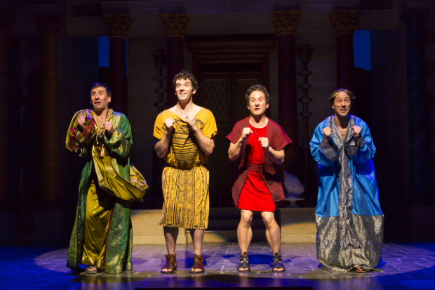 David Josefsberg (Marcus Lycus), Michael Urie (Hysterium), Christopher Fitzgerald (Pseudolus), and Kevin Isola (Senex) star in A Funny Thing Happened on the Way to the Forum, directed by Jessica Stone, at Two River Theater.