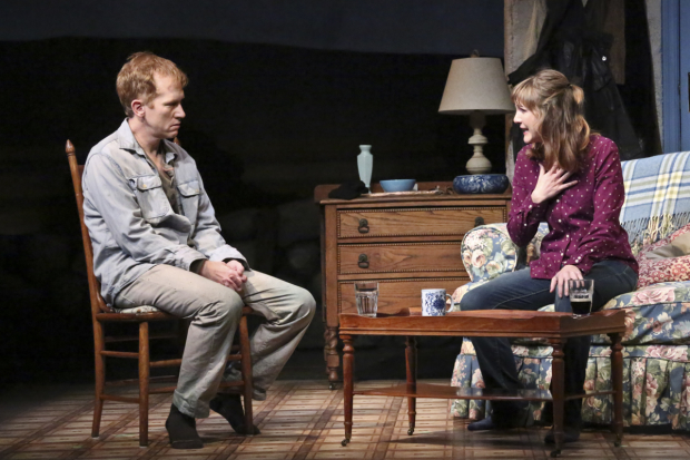 Dan Donohue (Anthony Reilly) and Jessica Collins (Rosemary Muldoon) in John Patrick Shanley's Outside Mullingar, directed by Randall Arney, at the Geffen Playhouse.