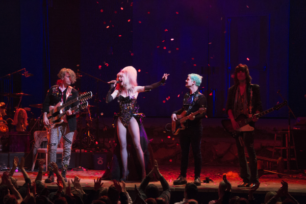 "Lena Hall and the band Tits of Clay perform ""Midnight Radio"" at the end of Hedwig and the Angry Inch at the Belasco Theatre."