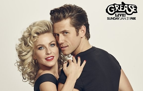 Julianne Hough and Aaron Tveit as Grease's Sandy and Danny.