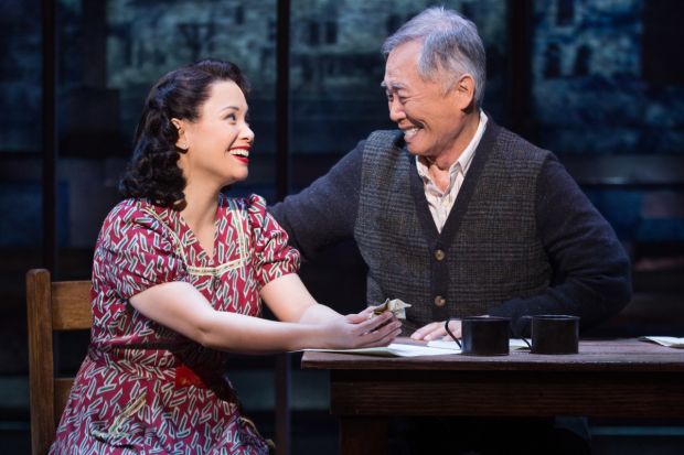 Lea Salonga and George Takei star in Allegiance at Broadway's Longacre Theatre.