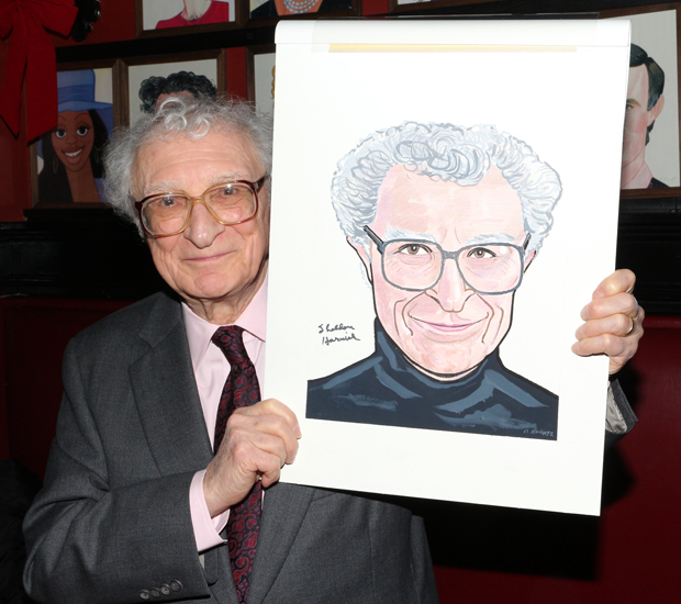Prolific musical-theater lyricist Sheldon Harnick shows off his brand-new Sardi's portrait.