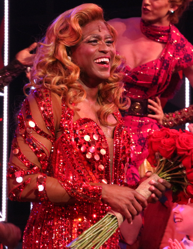 Wayne Brady takes his opening-night bow as Lola in Broadway's Kinky Boots.