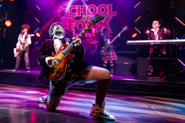 Alex Brightman leads the cast of Andrew Lloyd Webber, Glenn Slater, and Julian Fellowes' School of Rock, directed by Laurence Connor, at Broadway's Winter Garden Theatre.