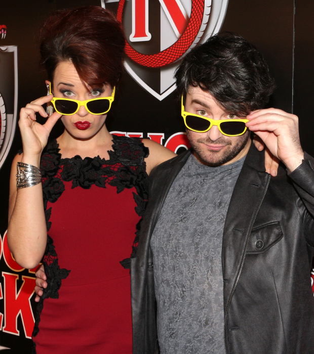 Sierra Boggess and Alex Brightman have some fun with sunglasses at the opening night of the new Broadway musical School of Rock.