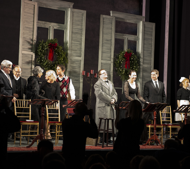 Nathan Lane (center) takes a bow alongside the cast of The Man Who Came to Dinner.
