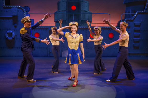 The cast of Dames at Sea at Broadway's Helen Hayes Theatre.