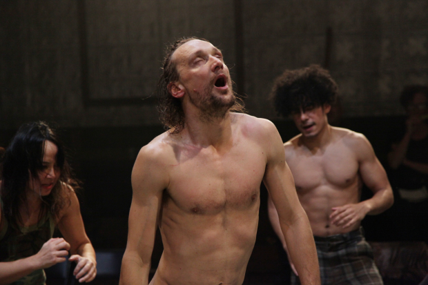 Maura Donahue, Marko Mandić, and John Gutierrez perform Ivica Buljan's sweaty, unhinged staging of Pylade.