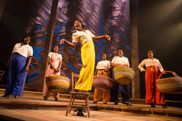 Cynthia Erivo (center) leads a cast that includes Danielle Brooks, Patrice Covington, Bre Jackson, Carrie Compere, and Rema Webb in The Color Purple, directed by John Doyle, at Broadway's Bernard B. Jacobs Theatre.