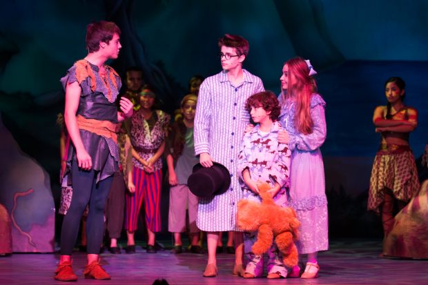 Kevin Quinn, Corey Fogelmanis, August Maturo, Sabrina Carpenter, and the company of Peter Pan and Tinker Bell - A Pirates Christmas.