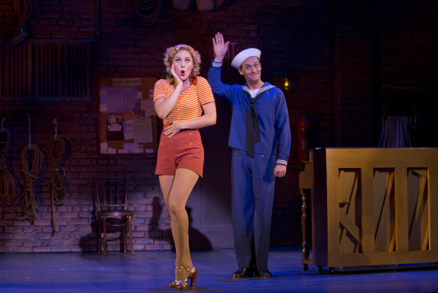 Mara Davi and Danny Gardner in Dames at Sea at the Helen Hayes Theatre.