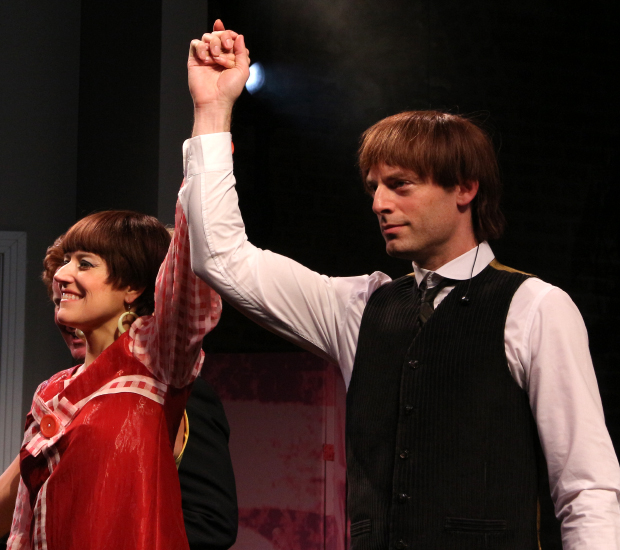 Nicole Parker and Justin Kirk take their bow on the opening night of These Paper Bullets! at Atlantic Theater Company.