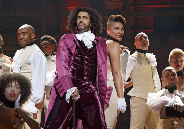 Daveed Diggs as Thomas Jefferson in Hamilton at the Richard Rodgers Theatre.