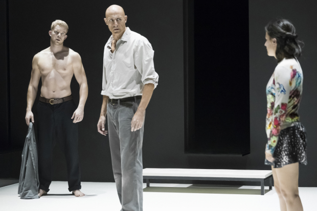 Russell Tovey, Mark Strong, and Phoebe Fox star in Arthur Miller's A View From the Bridge, directed by Ivo van Hove, at Broadway's Lyceum Theatre.