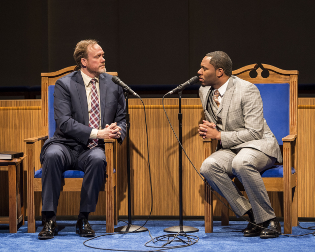Andrew Garman and Larry Powell as pastor Paul and pastor Joshua in Lucas Hnath's The Christians, directed by Les Waters, at the Mark Taper Forum.