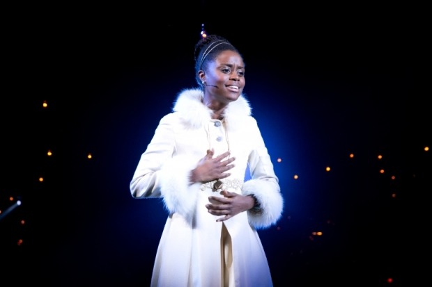 Denée Benton as Natasha in Natasha, Pierre & the Great Comet of 1812, directed by Rachel Chavkin, at the American Repertory Theater.