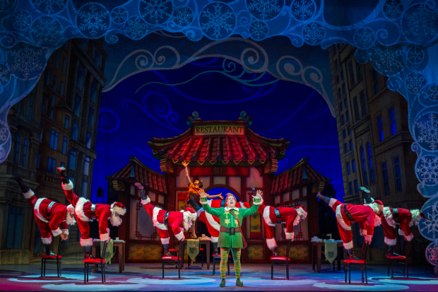 Eric Petersen leads the cast of Elf the Musical at the Theater at Madison Square Garden.