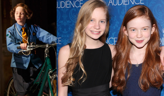Elizabeth Teeter (left) as Young Elizabeth in The Audience and pictured right with her alternate Sadie Sink.