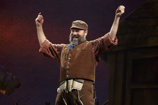 Danny Burstein plays Tevye in the Broadway revival of Fiddler on the Roof, directed by Bartlett Sher, at the Broadway Theatre.