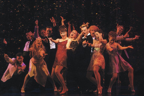 Jennifer Laura Thompson and Jeremy Kushnier (center) in the original Broadway production of Footloose at the Richard Rodgers Theatre.