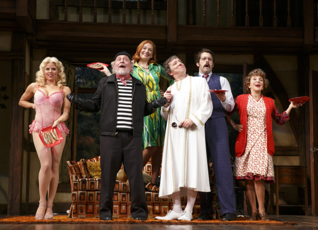 Megan Hilty, Daniel Davis, Kate Jennings Grant, Jeremy Shamos, David Furr, and Andrea Martin star in Michael Frayn's Noises Off, directed by Jeremy Herrin for Roundabout Theatre Company at the American Airlines Theatre.