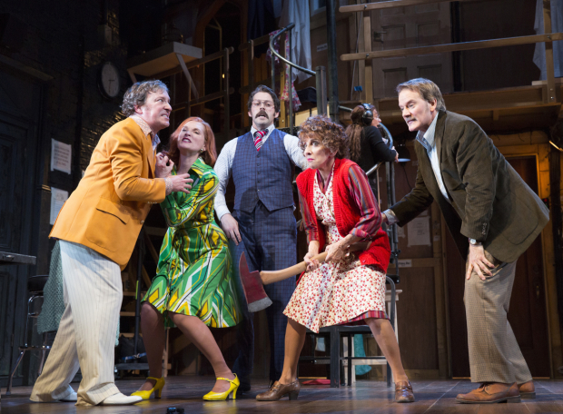 Jeremy Shamos, Kate Jennings Grant, David Furr, Andrea Martin, and Campbell Scott perform in the second act of Michael Frayn's Noises Off at Broadway's American Airlines Theatre.